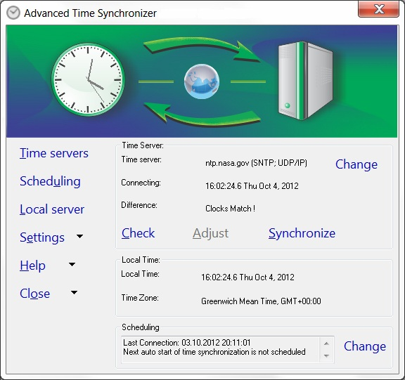 Click to view Advanced Time Synchronizer 4.1.0.801 screenshot